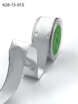 white and silver reversible metallic wired ribbon