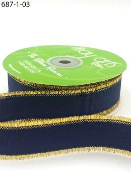 navy metallic gold fringe grosgrain ribbon