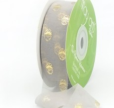 gray hazy gold polka dot chiffon ribbon