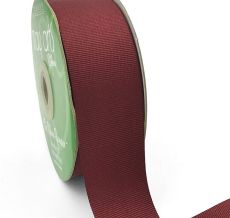 1.5 Inch Light-Weight Flat Grosgrain Ribbon with Woven Edge - GN-15-25 BURGUNDY
