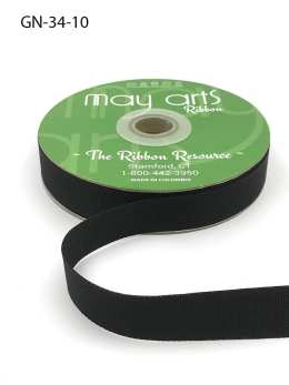 ~3/4 Inch Light-Weight Flat Grosgrain Ribbon with Woven Edge - GN-34-10 Black