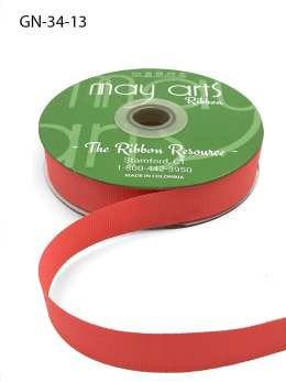 ~3/4 Inch Light-Weight Flat Grosgrain Ribbon with Woven Edge - GN-34-13 Coral