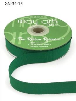 ~3/4 Inch Light-Weight Flat Grosgrain Ribbon with Woven Edge - GN-34-15 Green