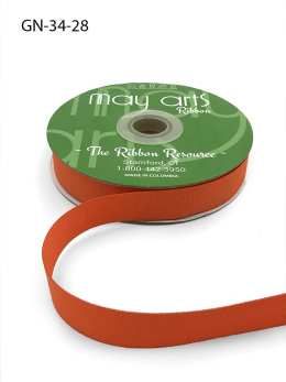 ~3/4 Inch Light-Weight Flat Grosgrain Ribbon with Woven Edge - GN-34-28 Orange