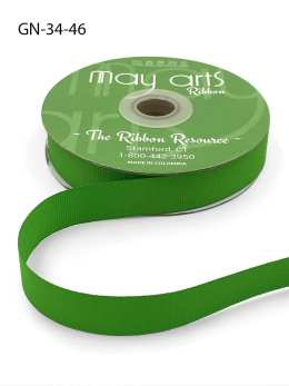 ~3/4 Inch Light-Weight Flat Grosgrain Ribbon with Woven Edge - GN-34-46 Parrot Green