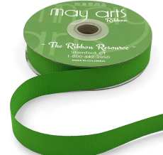 ~3/4 Inch Light-Weight Flat Grosgrain Ribbon with Woven Edge - GN-34-46 Parrot Green