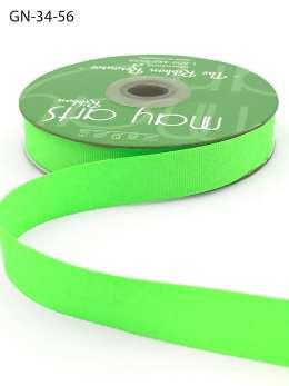 ~3/4 Inch Light-Weight Flat Grosgrain Ribbon with Woven Edge - GN-34-56 Neon Green