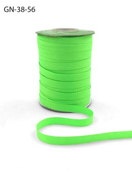 ~3/8 Inch Light-Weight Flat Grosgrain Ribbon with Woven Edge - GN-38-56 Neon Green