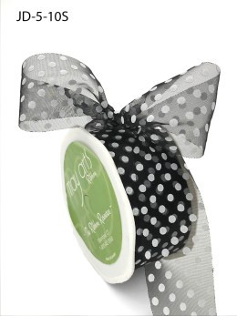 1.5 Inch Sheer Dots Ribbon - JD-5-10S Black