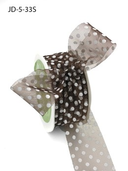 1.5 Inch Sheer Dots Ribbon - JD-5-33S Light Brown