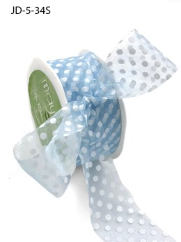 1.5 Inch Sheer Dots Ribbon - JD-5-34S Light Blue