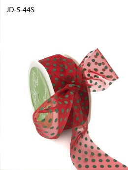 1.5 Inch Sheer Dots Ribbon - JD-5-44S Red and Green