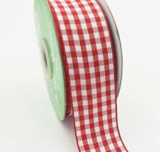 1.5 Inch Checkered Ribbon with Woven Edge - KB14 - RED