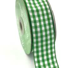 1.5 Inch Checkered Ribbon with Woven Edge - KB15 - GREEN
