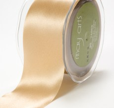 3 Inch Single Faced Satin Cut on the Bias Ribbon with Cut Edge - KK02 - CHAMPAGNE