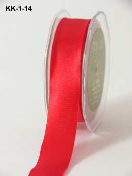 1 Inch Single Faced Satin Cut on the Bias Ribbon with Cut Edge - KK14 - RED