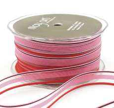 1/2 Inch SHEER/STRIPES Ribbon - MKK93 - PINK/RED/BROWN