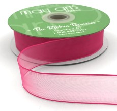 1 Inch Flat Soft Sheer Ribbon with Thin Solid Woven Edge - NNE-1-22 FUCHSIA
