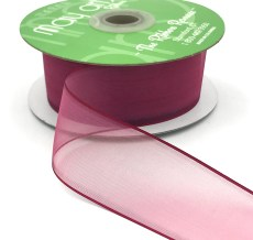 1.5 Inch Flat Soft Sheer Ribbon with Thin Solid Woven Edge - NNE-5-25 BURGUNDY