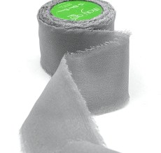 Gray Chiffon Silk Ribbon