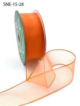 1.5 Inch Soft Sheer Ribbon with Thin Solid Edge - SNE-15-28 ORANGE