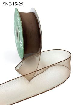1.5 Inch Soft Sheer Ribbon with Thin Solid Edge - SNE-15-29 LIGHT BROWN