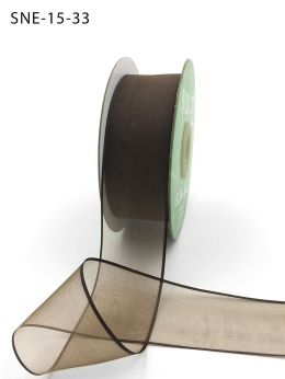 1.5 Inch Soft Sheer Ribbon with Thin Solid Edge - SNE-15-33 Brown