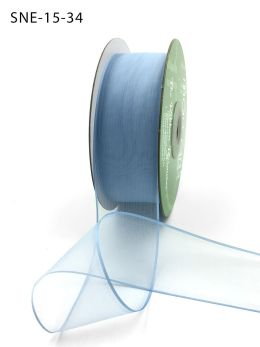 1.5 Inch Soft Sheer Ribbon with Thin Solid Edge - SNE-15-34 Light Blue