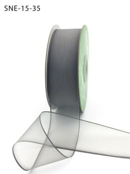 1.5 Inch Soft Sheer Ribbon with Thin Solid Edge - SNE-15-35 Pewter