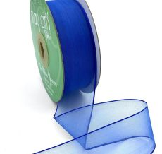 1.5 Inch Soft Sheer Ribbon with Thin Solid Edge - SNE-15-44 ROYAL BLUE