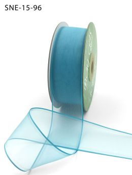 1.5 Inch Soft Sheer Ribbon with Thin Solid Edge - SNE-15-96 Turquoise