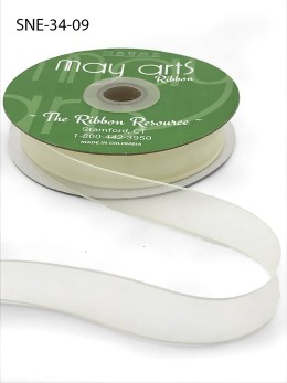 3/4 Inch Soft Sheer Ribbon with Thin Solid Edge - SNE-34-09 Ivory