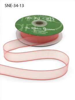 3/4 Inch Soft Sheer Ribbon with Thin Solid Edge - SNE-34-13 Coral