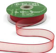 3/4 Inch Soft Sheer Ribbon with Thin Solid Edge - SNE-34-14 Red