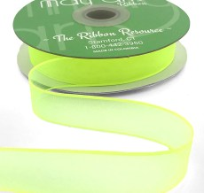 3/4 Inch Soft Sheer Ribbon with Thin Solid Edge - SNE-34-57 Yellow