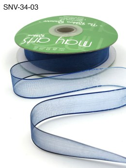 3/4 Inch Soft Variegated (multi-color) Sheer Ribbon with Thin Solid Edge - SNV-34-03 Light Blue/Blue