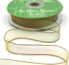 3/4 Inch Soft Variegated (multi-color) Sheer Ribbon with Thin Solid Edge - SNV-34-08 Moss/Taupe