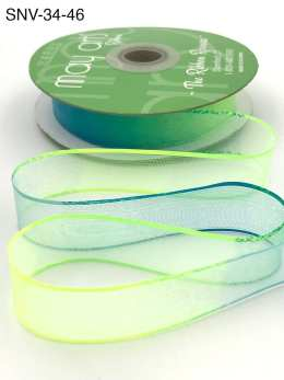 3/4 Inch Soft Variegated (multi-color) Sheer Ribbon with Thin Solid Edge - SNV-34-46 Neon Green/Neon Blue