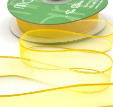 3/4 Inch Soft Variegated (multi-color) Sheer Ribbon with Thin Solid Edge - SNV-34-72 Lemon/Yellow