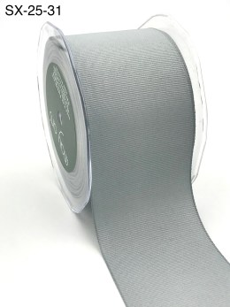 2.5 Inch Heavy-Weight (higher thread count) Classic Grosgrain Ribbon with Woven Edge - SX-25-31 silver