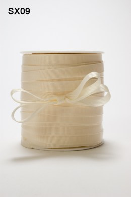 3/8 Inch Heavy-Weight (higher thread count) Classic Grosgrain Ribbon with Woven Edge - SX09 IVORY
