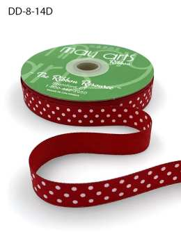 5/8 Inch Grosgrain Printed Dots Ribbon with Woven Edge - DD-8-14D RED/WHITE DOTS