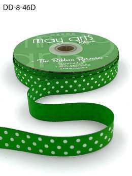 5/8 Inch Grosgrain Printed Dots Ribbon with Woven Edge - DD-8-46D CELERY/WHITE DOTS