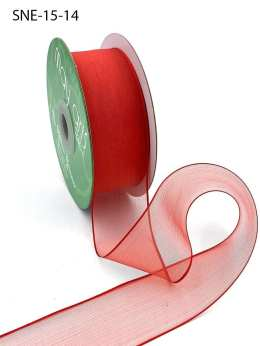 1.5 Inch Soft Sheer Ribbon with Thin Solid Edge - SNE-15-14 RED