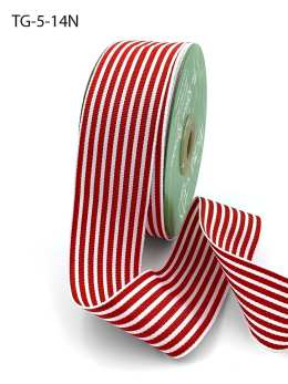 1.5 Inch Grosgrain Multi-Color Striped Ribbon with Woven Edge - TG-5-14N RED/WHITE