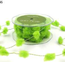 10 Yards Fuzzy Pom Poms (Wired) Ribbon - 346-46 PARROT GREEN