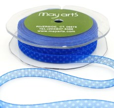 1/4 inch Sheer / Print Ribbon - 370-14-44 BLUE MINI DOT