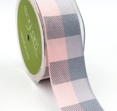pink and grey buffalo check ribbon