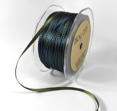 3/16 Inch Two-Color Reversible Satin with Woven Stitched Edge - BM03 - OLIVE GREEN/NAVY BLUE