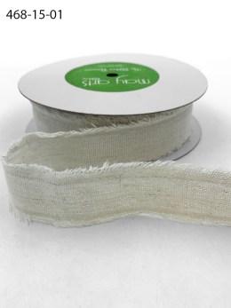 Antique Ivory Frayed Edge Linen Cotton Ribbon